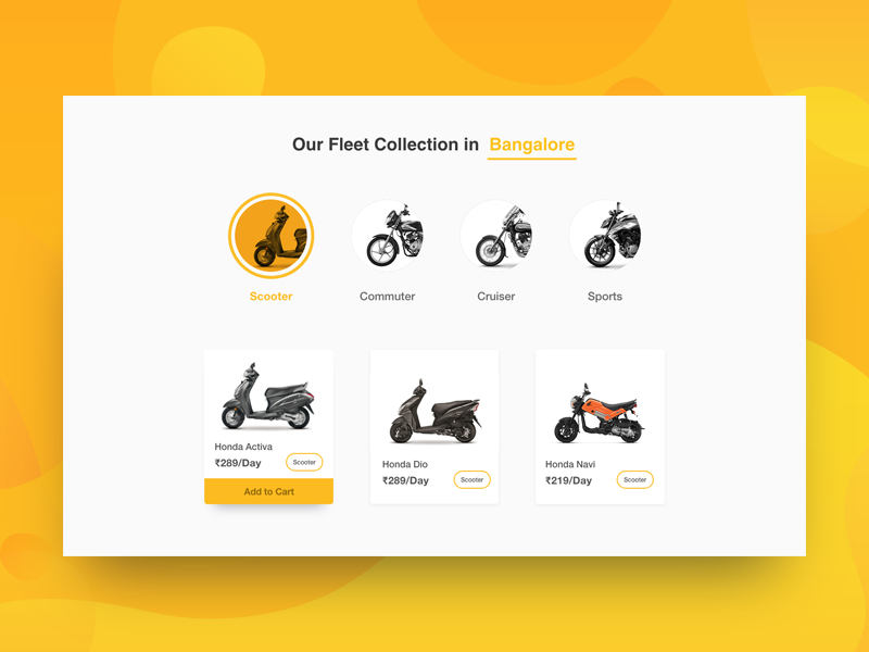 Rental Fleet Section Redesign page visual ui section bangalore bikes redesign design website