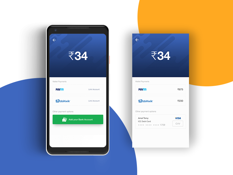 Payment Section - Mobile App payment section money app banks wallets payment design screen mobile uiux