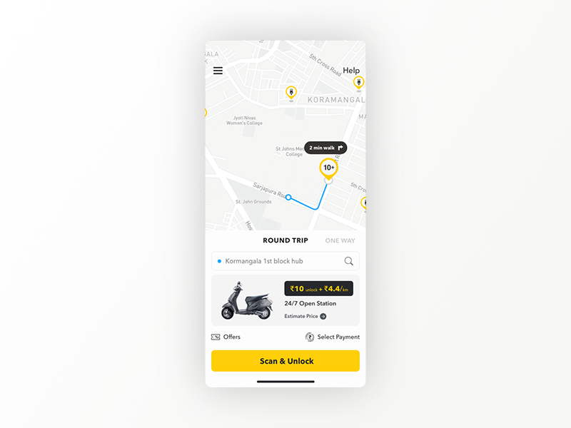 Home Screen - Vogo rent branding interface mobile booking app layout search app taxi booking app screen taxi app scooterbooking scooterrental scootertaxi taxi ui location uiux design