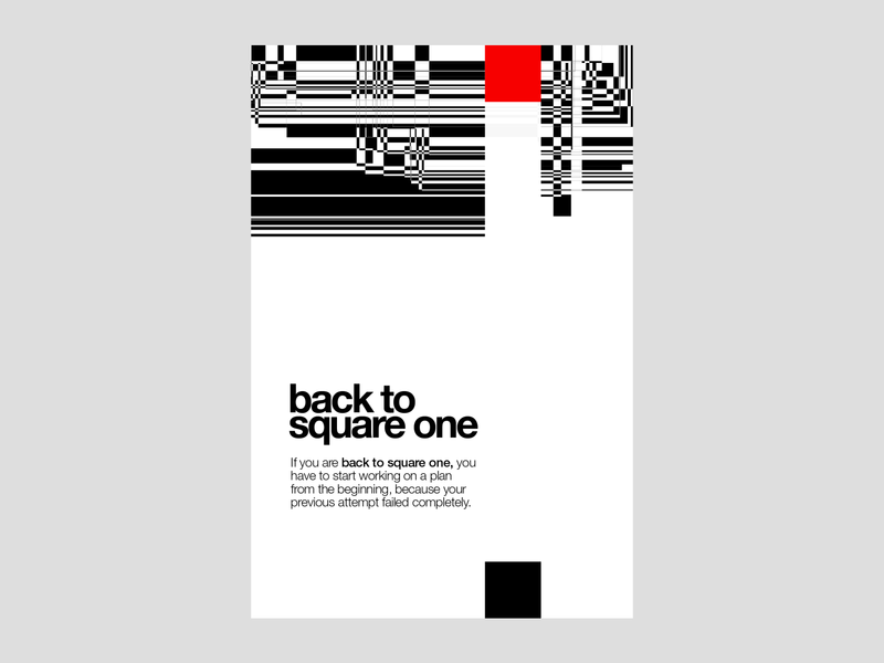 Back to Square One | Poster | Day 5 square one poster print design chaotic chaos square barcode aggressive red typography minimalism swissdesign swissstyle posteraday print graphicdesign brand identity minimal branding modern