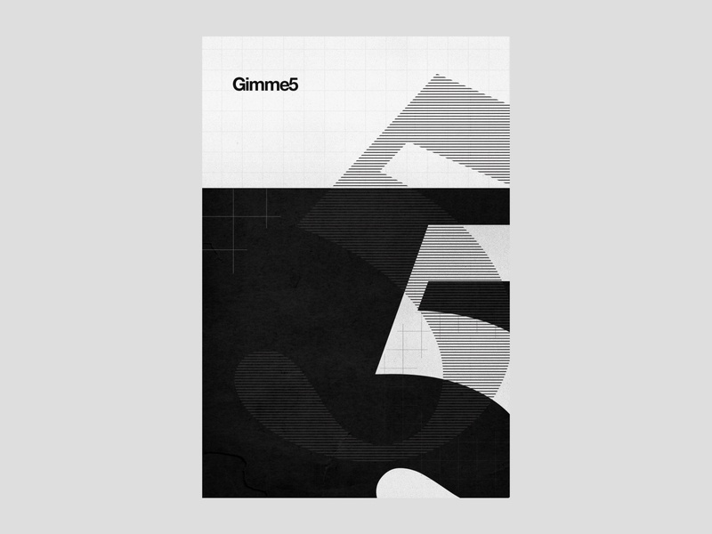 Gimme 5 | poster | day 15 figures typography minimalist minimal modern design poster design geometry geometric lines grid layout film grain blackandwhite black  white nostalgia hands 5 five gimme high 5 high five