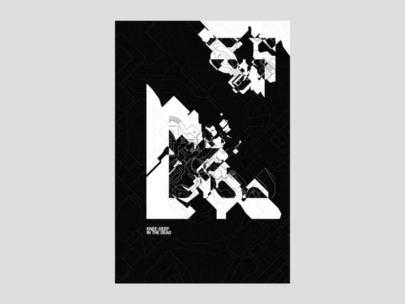 Knee-deep in the dead | poster | day 16 modernart nightmare ripandtear darkness dark dead death blackandwhite black  white abstract art digital art experimental abstract geometric automap map doomguy fps videogame doom