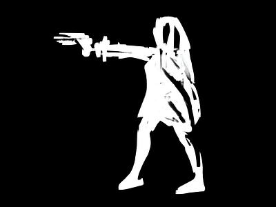 Gesture & figure drawing   08 gesture femme fatale brand identity visual identity minimal gun action figure black and white white on black drawing quick sketch illustration gesture drawing figure drawing digital art digital painting stylized sketch exokim bold