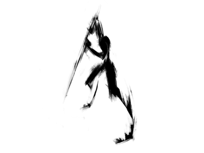 Gesture & figure drawing   18 human figure modern sketch exokim abstract illustration spear sword silhouette minimal digital art black and white negative space stylized drawing figure drawing martial arts warrior brand identity branding
