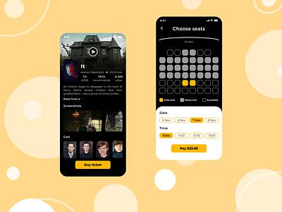 Cinema Ticket Mobile App UX/UI Design film movie cinema uxui ux ui mobile app design app