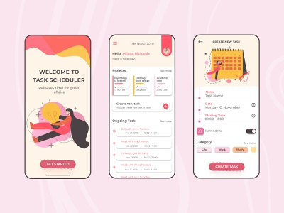Task Scheduler Mobile App UX/UI Design mobile design mobile app design mobile ui scheduling schedule uxui ux ui mobile app design app