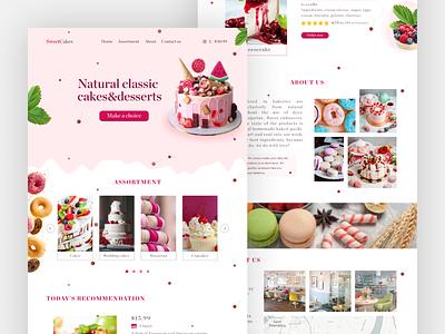 Cakeshop Landing Page Web Design - UI / UX food desserts dessert design bakery confectionary confectionery cakes cake shop cake uxui ux ui landing page design landing page landingpage