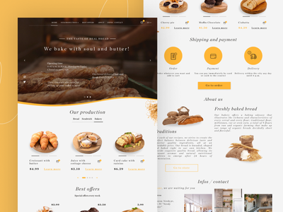 Bakery Landing Page Web Design - UI / UX food bread bake bakery landing page design landing page landing web design webdesign website uxui ux ui design