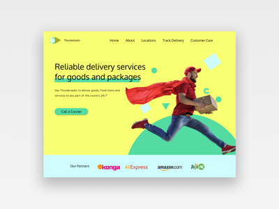 Landing page design for a delivery service app. Tunderboltz ux web ui