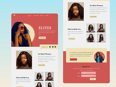 Elite hairs branding website design landingpagedesign
