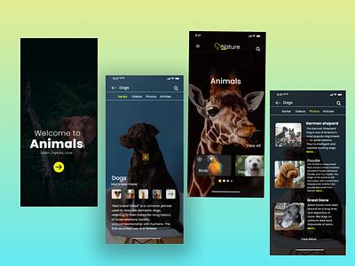 Animals-wildlife mobile app design best ui design dogs app wildlife app ui ux app