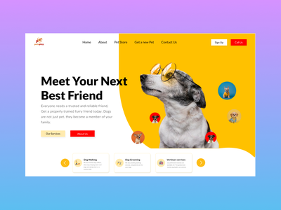 Dogs - Pet Website Design ui design app website design animals logo dogs pet website petshop pet care pet website design pet website design