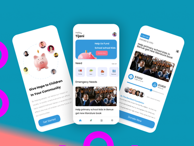 Crowfunding app adobexd figmadesign uxdesign uidesign school kids helping hand ngo charity crowfunding