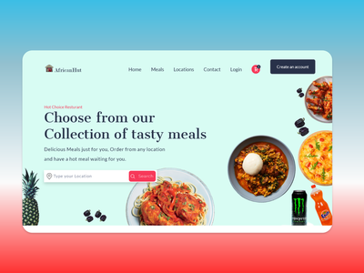 Food Ordering service - Resturant best ui design design app website design african food catering services adobe xd food app food and drink food ordering website resturant food