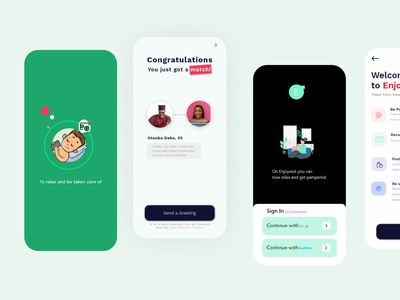 Enjoyvest,get pampared for doing nothing fun catering best ui design app ui dating app