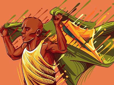 Brazillian Athlete illustration vector sport warm brazil