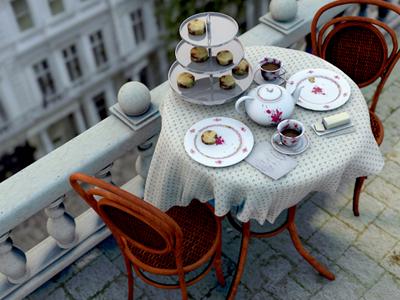 3D Tea Party 3d cinema 4d maxon 3d model