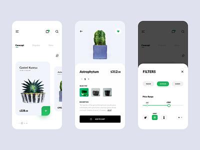 Plants shop app design ui ui ux design mockups design wireframes design ui design wireframes mockups app design