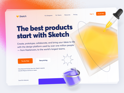 Sketch Website 3D Revamp! 💎 landing web website ux uiux uidesign ui 3d 3dartist 3dart lines
