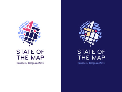 State of the Map logo flat typography illustration branding minimal logo
