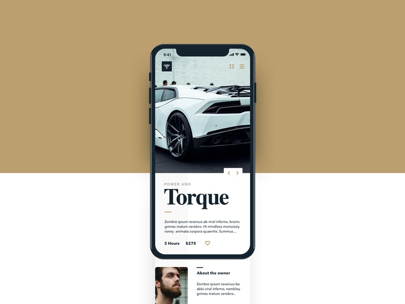Power & Torque exploration ui ux layout mobile lamborghini auto car power torque
