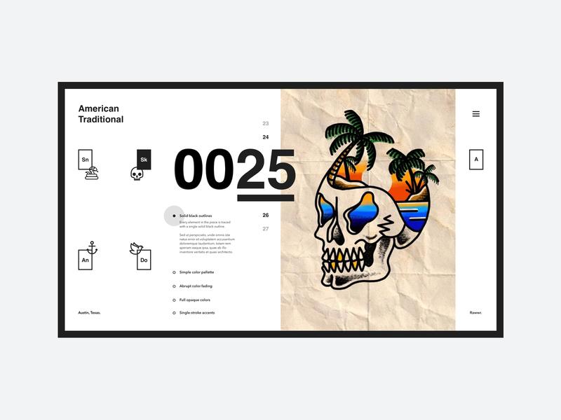Skull Island austin austin texas american traditional tattoo palm uid layout web design landing page october island skull list fiilter