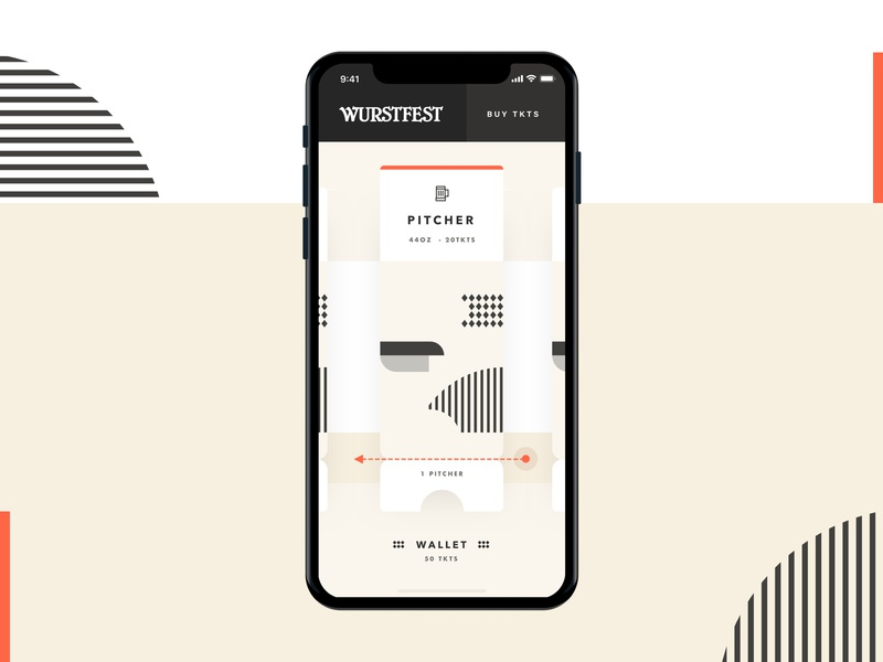 Wurstfest Beer Tkt fesitval wurstfest shapes wallet pitcher interaction beer art abstract fall ux ui layout mobile ticket app oktoberfest beer beerfest