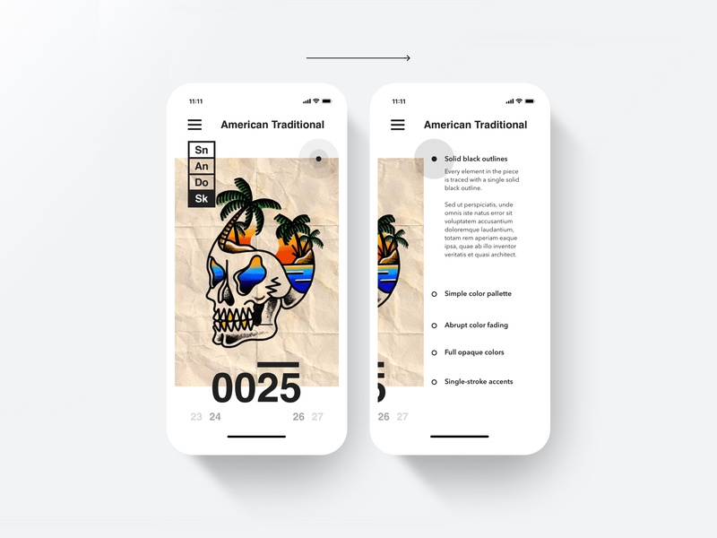 Skull Island Mobile island skull interaction tap scroll filter iphone dropshadow american traditional layout ux mobile tattoo austin texas austin
