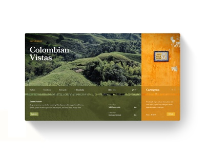 Colombia country dropshadow texas austin ux ui desktop layout south america orange green explore travel vacation city mountain vista color colombia