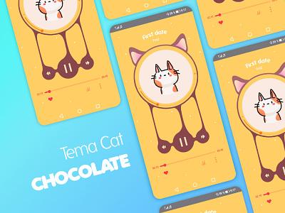 Tema Cat Chocolate ui design appmusic concept android app uidesign uiux interfacedesign aplication ilustration