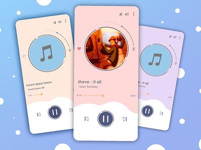 """Tema """"Dreams"""". illustration interfacedesign uiux uidesign ui design concept appmusic aplication android app"""