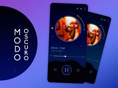 "Nuevo tema modo oscuro ""Dreams"". app illustration uidesign ui uiux interfacedesign design concept appmusic android app"