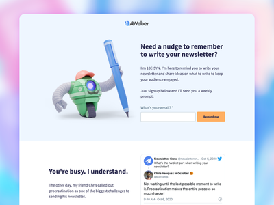 Newsletter Reminder App signup newsletter robot aweber illustration landingpage