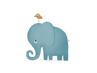 Elephant & Bird cute design character procreate drawing illustration nature bird elephant
