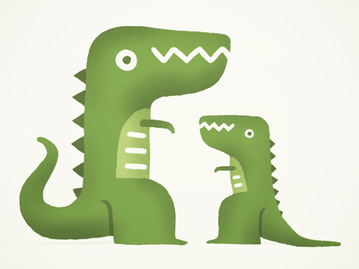 Big lizard, little lizard cute green procreate drawing design character dinosaur lizard
