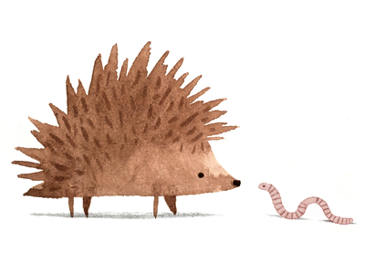 The hedgehog & the worm worm hedgehog painting drawing sketch watercolour
