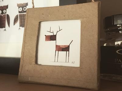 Calligraphy Reindeer xmas calligraphy art animal ink frame reindeer
