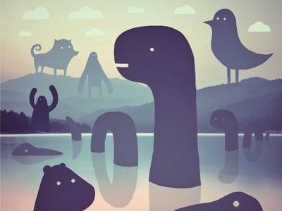 Monster lake character design illustration procreate ipad drawing lake monster