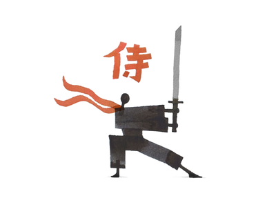 Calligraphy Samurai drawing ink design illustration katana martial arts calligraphy japan