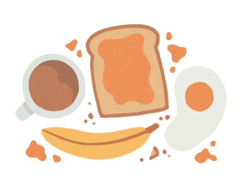 Breakfast drawing design procreate food toast fruit banana eggs coffee breakfast