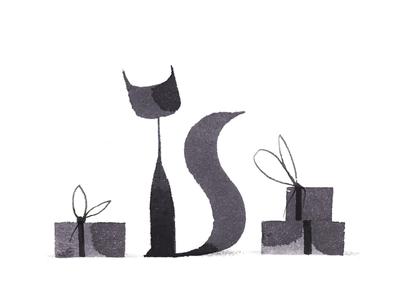 Cat + presents ink calligraphy drawing presents cat
