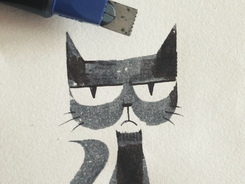Grumpy Cat calligraphy doodle ink cat grumpy