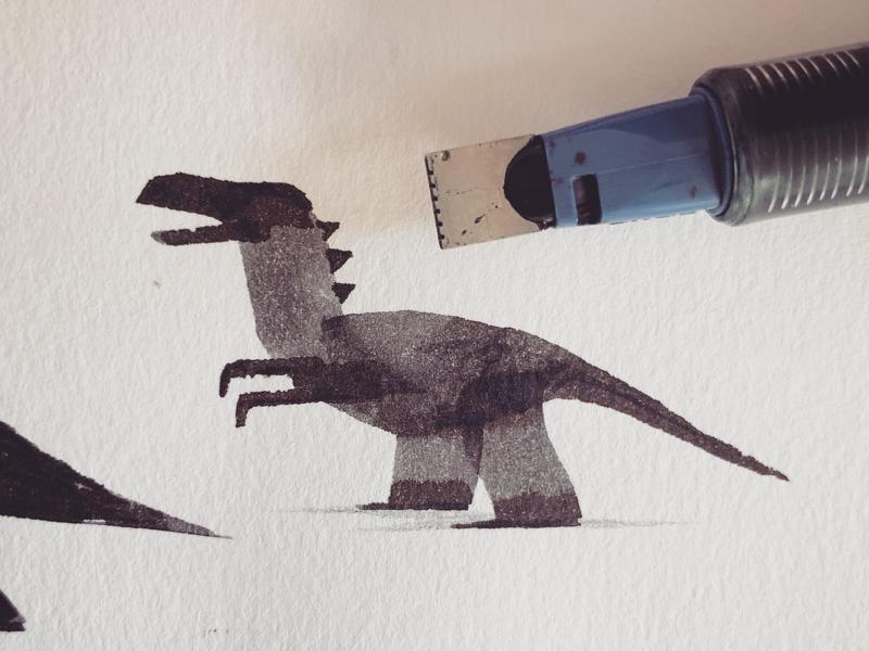Calligraphy Dinosaur drawing art calligraphy ink illustration dinosaur