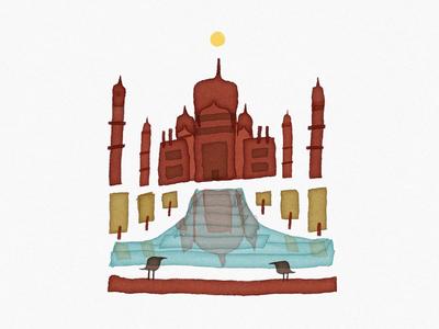Taj Mahal agra ink design sketches sketch india art digital calligraphy