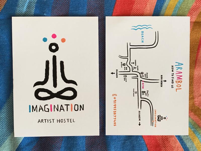 Logo and map design for Imagination Hostel (Goa) minimalism map hostel branding logo india goa design art imagination