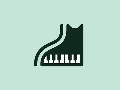 Piano Cat mistershot design minimal animal illustration icon symbol piano keys music cat piano mark logo