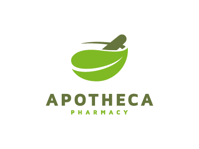 Apotheca Pharmacy logo mark icon leaf mortar pestle pharmacy medical