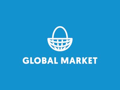 Global Market shopping bag shopping market basket global globe icon symbol mark logo