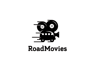 Road Movies design cinematography cinema films filmmaker van logo camera logo camera movies logo movies road movies lens reel film video van car symbol mark logo