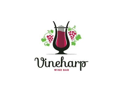 Vineharp  glass vineyard grapes wine bar bar music harp wine vine mark logo